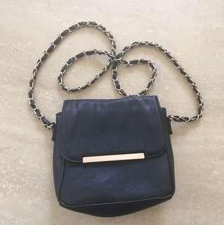 Black leather side bag