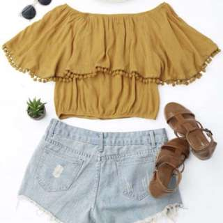 Mustard off the Shoulder Crop top