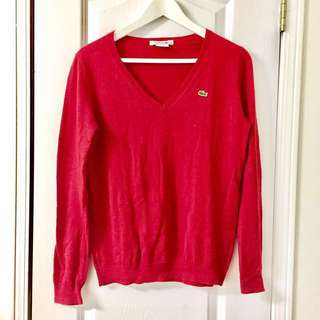 Lacoste Red V-Neck Sweater