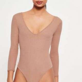 Bardot BNWOT nude bodysuit longsleeve tan