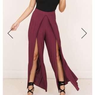 Showpo pants in wine size 8