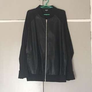 Bomber Jacket with leather detail