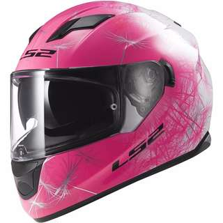 LS2 Helmets Stream Fan Full Face Motorcycle Motorbike Helmet with Sunshield Internal Tinted Visor (White/Pink, Small)