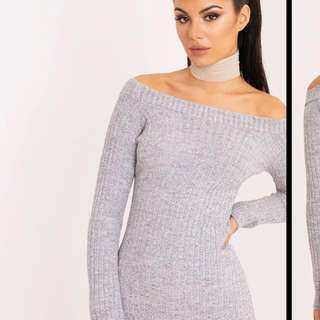 BNWT Grey off the shoulder knit dress