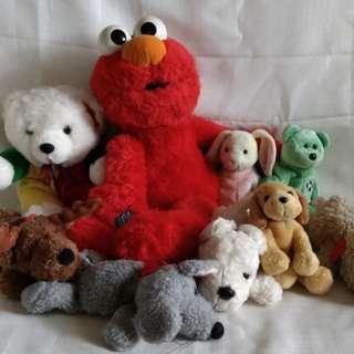 stuff toys - ELMO and beanie babies