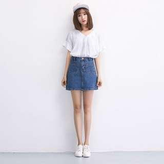 [PO] Denim A Line Skirt