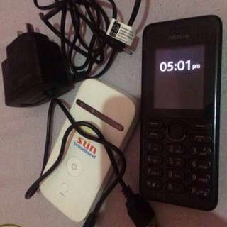 Nokia Dual Sim Keypad Backup Phone & Sun Pocket wifi