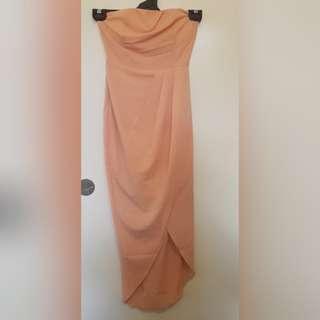 Peach Strapless Dress - Size 6