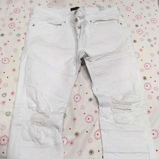 ZARA白色破褲牛仔