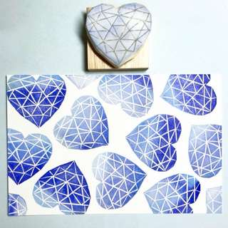 Geometric Heart Prints Rubber Stamp