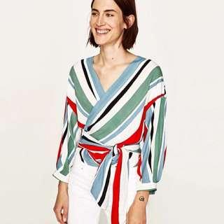 Summer Ladies V-Neck Striped cross top blouse shirt