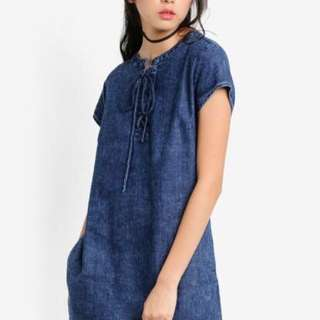 Brand New Chambray Lace Up Dress from Something Borrowed / Soft Denim