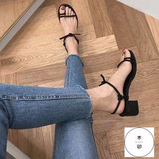 黑色綁結粗跟涼鞋39號/24.5cm 正常版型 (商品狀況:9成新) - 購於木卯
