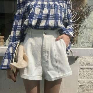 白色(白杏色)闊腿牛仔短褲