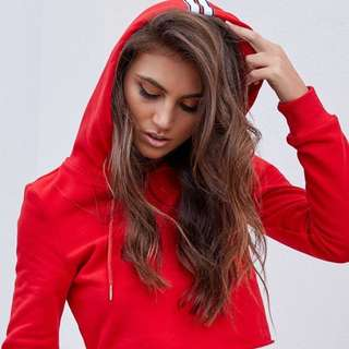 *I Am Gia* red crop hoodie - worn once (small)