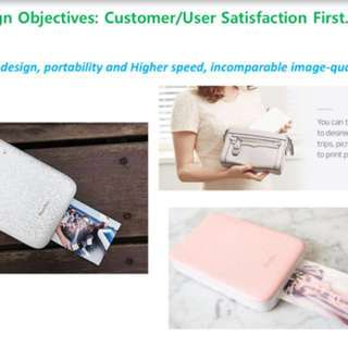 Portable photo printer (available in black//pink//white)