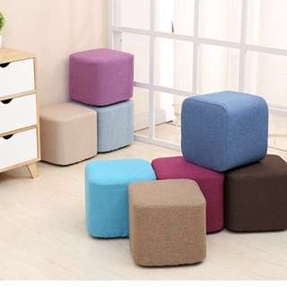 Footstool With Removable and Washable Covers -2 heights Many Solid Colours