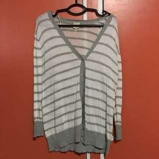 White & Gray Striped Cardigan