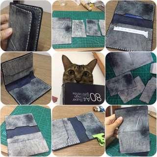 皮革 卡片套❣️手作 handmade leather card holder💕 擦爉皮 牛皮 10*7cm ❣️材料包 半製成品