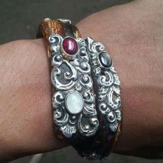 Red Bahar With Silver Handmade