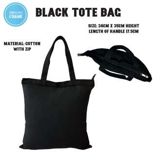 Customised Flat Black Canvas / cotton totebag with zip 34cm x 35cm