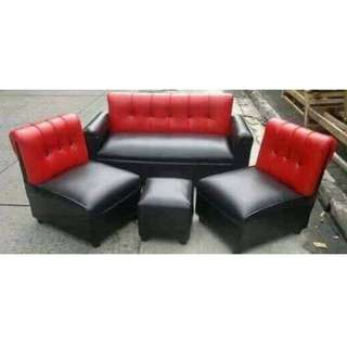 Sofa set black and red