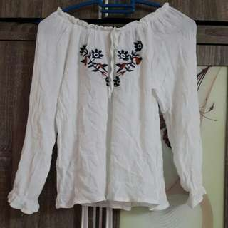 Boho white embroidery off shoulders