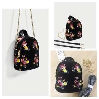 Zara embroidered mini convertible backpack