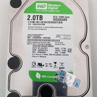 Hard disk 2tb (WD brand) 100% hdd life, no bad sector