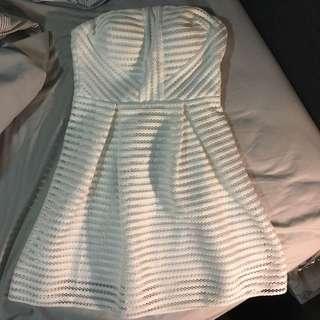 White Mesh Detail Skater Dress