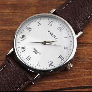 Two Luxury Men's Retro Fashion Dial Display Brown PU Leather Strap Wrist Watch - White & Black (Free AUS Post)