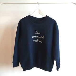 DEAR STALKER Navy Loose Fit Sweatshirt