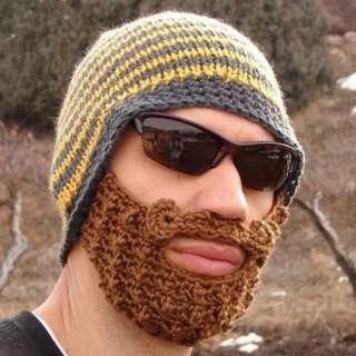 Men's Winter Knit Crochet Brown Beard Beanie Moustache Face Mask Ski Snow Hat Yellow & Grey Stripe
