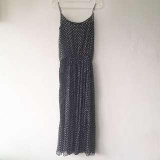 《二手良品》長裙 洋裝 點點夏日 黑色雪紡紗 顯瘦直條壓摺裙襬