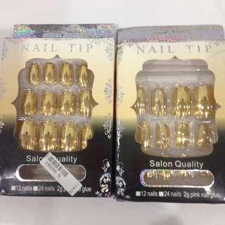 2x Brand new chrome gold fake nails