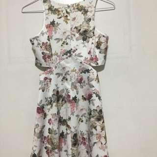 Floral Side Cut Out Dress