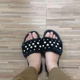 Vincci Fur and Pearl Slip Sandals
