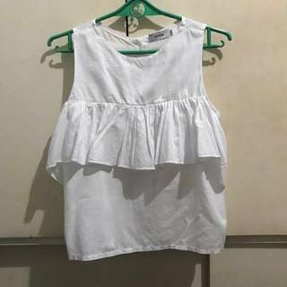 White cold shoulder blouse with ruffles
