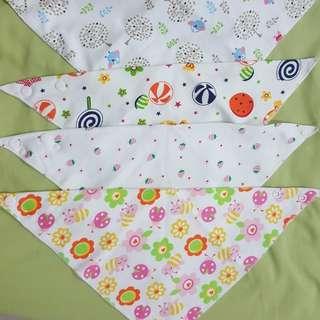 Brand New 4pcs Baby Triangle Drooling Bib / Head Scarf