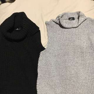 Sleeveless wool jumpers (turtleneck)