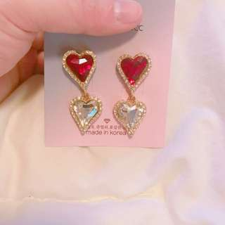 Korea red heart earring ❤️