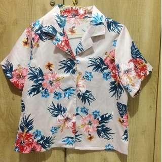 Creamy Pink Floral Satin Shirt