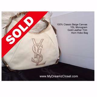🚚 SOLD 100% Classic Beige Canvas YSL Monogram Gold Leather Trim Horn Hobo Bag