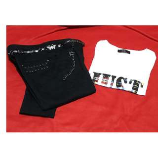 :) {free belt}**VEEKO white T & VEEKO black JEANS**