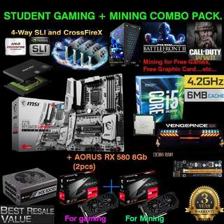 """2-AORUS RX 580 8G """"Student Gaming & Mining Combo Pack Rig."""" (Go Mine for Free Games, Free Future 3rd Slot & 4th Slot GPU....upgrade for Free.....etc..)"""