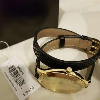 Michael Kors black leather double strap