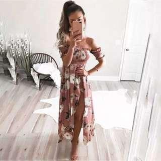 💌 Gorgeous Pink Off shoulder floral summer dress 💌