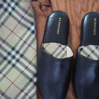 Authentic Burberry men's leather slippers
