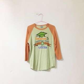 古著 綠色棒球T七分袖