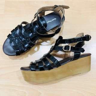 Black Strap Platform Shoes (Hush Puppies)